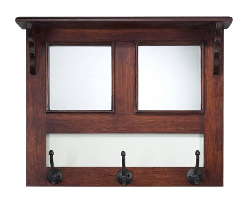 Sterling Home Traditional Walnut And Mirror Wall Hanger With Iron Hooks