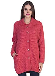 Mable Women Stylish buttoned woollen red Cardigan