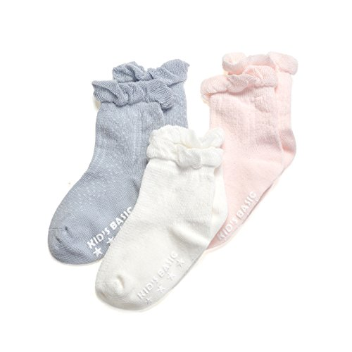 Epeius Baby-Girls Non Slip Ruffle Frilly Ankle Socks Pointelle Pack of 3//6