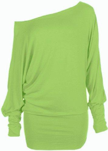 Funky Boutique Womens Plus Size Batwing Top Plain Long Sleeve Off Shoulder Big Size Tshirt Top 16-26 (16-18 Lxl, Lime)