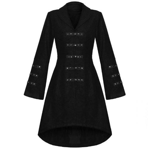LADIES NEW BLACK GOTHIC MILITARY STEAMPUNK WOOL EFFECT LONG JACKET COAT