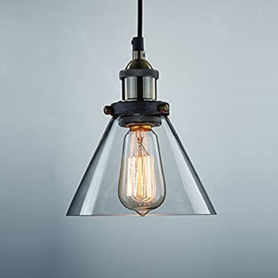 Ecopower Industrial Edison Antique Glass 1-Light Mini Pendant Hanging Light
