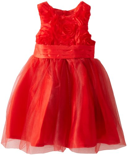 Mud Pie Baby-Girls Newborn Red Rosette Party Dress, Multi, 0-6 Months