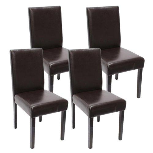 4x-Esszimmerstuhl-Stuhl-Lehnstuhl-Littau-Kunstleder-braun-dunkle-Beine