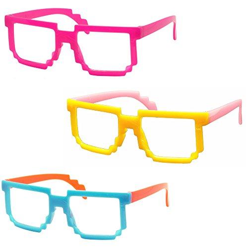 Set Of 3 Fancyg® Retro Classic 8-Bit Pixel Geek Gamer Pixelated Glass Frame For Kids No Lens Set4