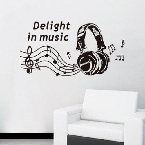 Rock Music Headphone Wall Sticker Decal