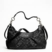 Hot Sale Coach F19766 Black Grey/Black Ashley Signature Convertible Hobo Handbag