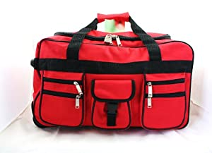 Wheeled Holdall Trolley Travel Bag Luggage on Wheels Various Sizes and Colours (28 incg, Red)