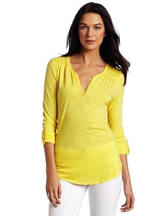 (CK)Calvin Klein Jeans Roll Sleeve女式棉+莫代尔深V领卷袖上衣$27.67,