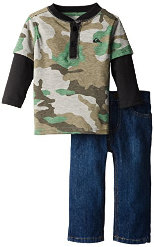Quiksilver Baby-Boys Infant Camo Long Sleeve Tees And Jeans, Green, 18 Months front-529998
