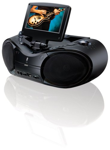 GPX BT780B Portable DVD/CD/AM/FM Radio Boombox with 7-Inch LCD Display, Remote Control, TV Tuner, SD Card Reader and Mic Inputs