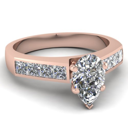 Fascinating Diamonds 1.6 Ct Pear Shaped Cut:Very Good Diamond Engagement Ring Channel Set Si1-H Color Gia