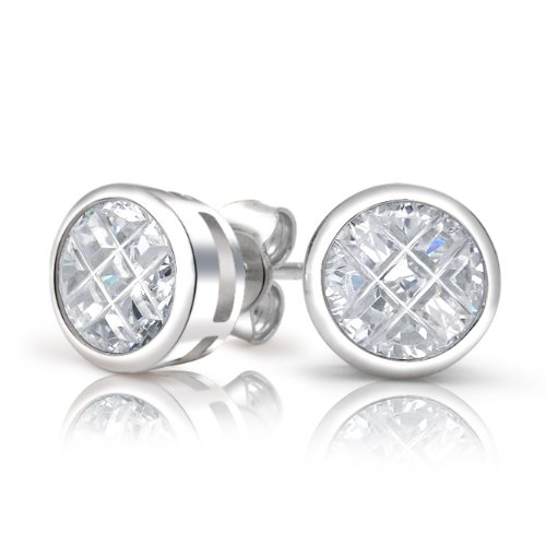 Bling Jewelry Sterling Silver Invisible Cut CZ Stud Earrings 9mm