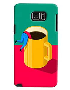 Blue Throat Man Drowning In Coffee Printed Designer Back Cover/ Case For Samsung Galaxy Note 5