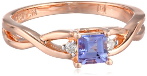 Rose Gold Flashed Silver Tanzanite and Diamond (0.04cttw, G-H Color, I2-I3 Clarity) Twisted Ring, Size 7