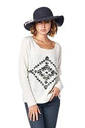 [The Classic Brand] Cream Aztec Distressed Back Sweater Medium