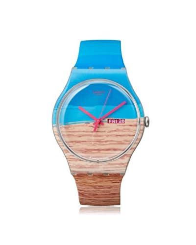 Swatch Women's SUOK706 Blue/Tan Silicone Watch