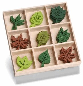 KnorrPrandell 22 mm Leaves Wooden Box with Felt Ornaments, Multi Colour       review and more information