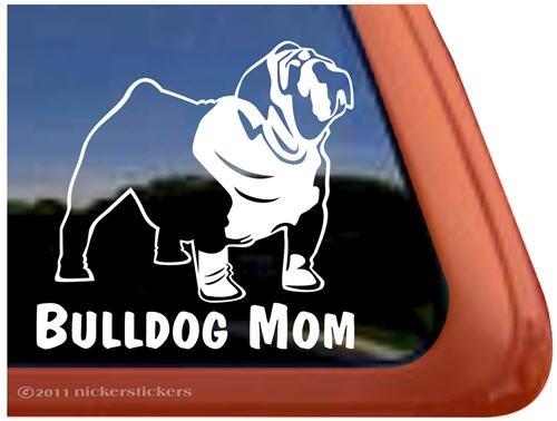 Bulldog Mom Dog Vinyl Window Auto Decal Sticker front-544526