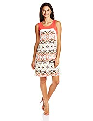 SOIE Womens Polyester Shift Dress (5849_Print_Medium)