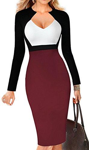 LUNAJANY-Womens-Chic-V-neck-Color-Blocked-Wear-to-Work-Sheath-Dress