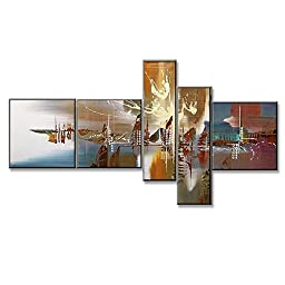 Neron Art - Venice Abstract Oil Paintings Set of 5 Panels on Gallery Wrapped Canvas 60X32 inch (152X81 cm)