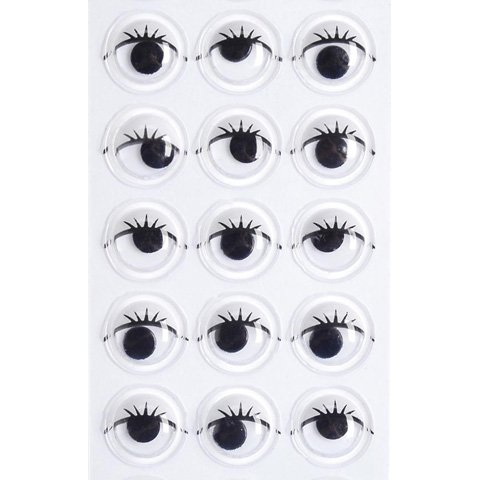 10MM Round Adhesive Back Moving Craft Eyes With Eye Lashes (Black and White, 33 Pieces)