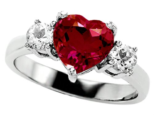 Star K 8Mm Heart-Shape Created Ruby Engagement Ring Size 5.5