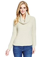 M&S Collection Cropped Cowl Neck Jumper with Mohair