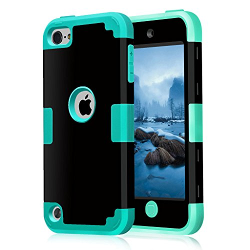 iPod 5 / 6 Case, HOcase Black Series, Hybrid Plastic Silicone Shockproof Protective Case Cover for iPod touch 5th / 6th Generation - Black / Turquoise (Ipod Model A1421 compare prices)