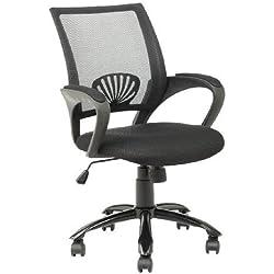 Mid Back Mesh Ergonomic White Computer Desk Office Chair O12 Black by BestOffice