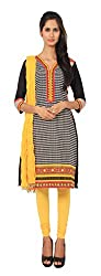 Rama Suit Set of Printd Black Color V Neck 3/4 Sleeve Cotton Fabric Women Kurti with Yellow Legging Duppatta