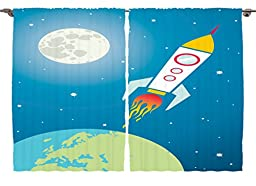 Ambesonne Kids Nursery Cartoon Print Decor Collection, Astronaut Spaceship Shuttle Rocket Universe Travel Moon Star and Earth, Window Treatments for Kids Bedroom Curtain 2 Panels Set, 108X84 Inches