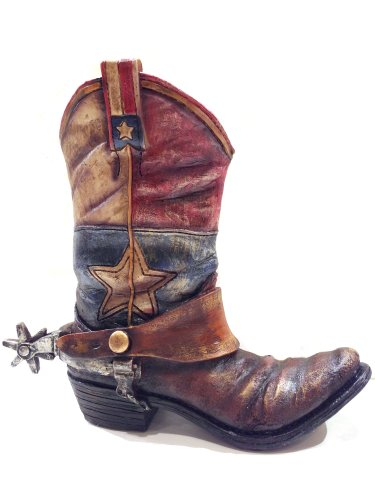 Texas Lone Star Cowboy Boot With Spur Vase Planter For Western Decor front-578706