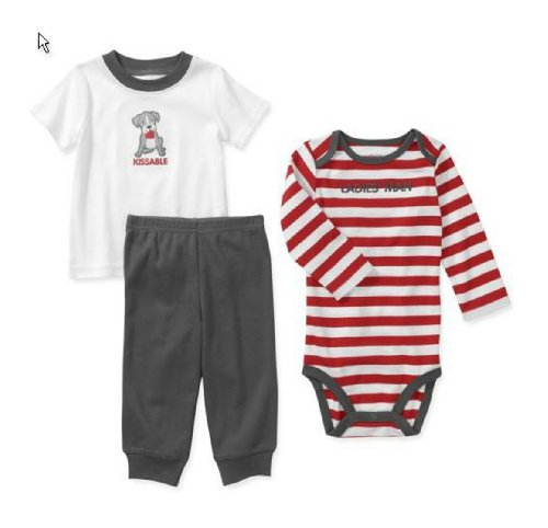 Embroidered Ladie's Man Baby Boys 3 Pc Tee Bodysuit & Pant Set Dress Up Outfit