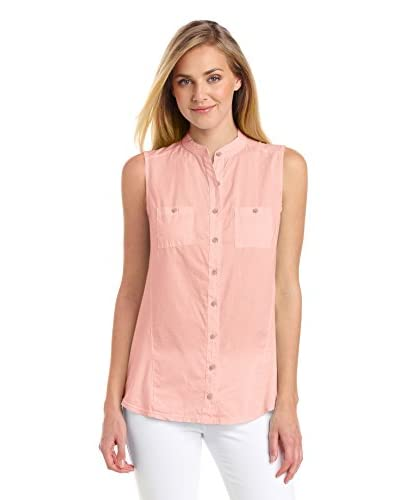 Three Dots Women's Woven Front Sleeveless Shirt