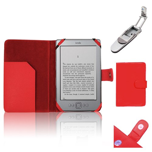 Xtra-Funky Exclusive PU Leather Book Wallet Folio Style Case For Amazon Kindle 4 (Black or Silver 6″ E-ink Display No keyboard Model) with Clip on Robotic Folding Light – Red