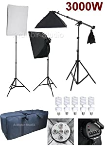 Ardinbir Photo Studio 3000W Continuous Cool Fluorescent 5400K Day Light Boom Softbox Diffuser Stand Kit with Lights, Sockets, Stands and Carrying Case