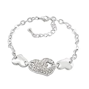 Pugster Clear White Crystal Fashion Style Dangle Heart Love Ankle Bracelet For Women
