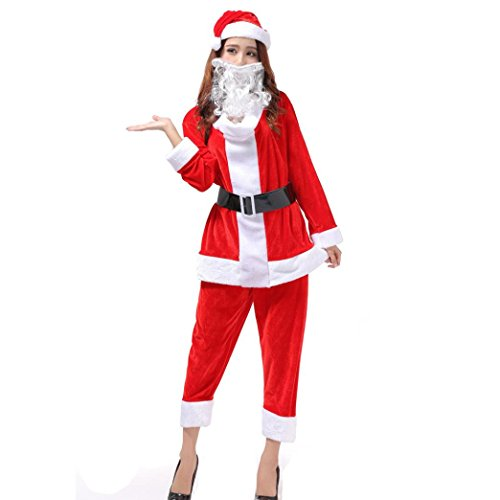 [Bolayu Women Sexy Christmas Santa Costume Cosplay Suit (D)] (Deluxe Smoke Mask)