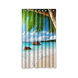 Gifts Close to the Beach Palm Tree Polyester Custom Blackout Window Curtains 50\