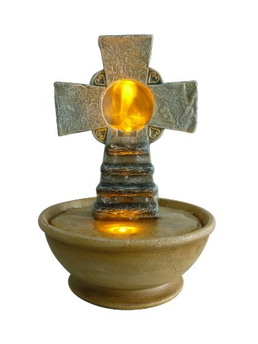 OK LIGHTING FT-1206/1L 9-Inch H Tabletop Cross Led Fountain