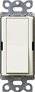 Lutron SC-3PSNL-BI Diva Satin Colors 15-Amp 3-Way Switch with Locator Light, Biscuit