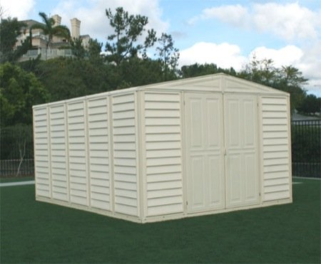 Duramax woodbridge 10 13 vinyl storage shed kit lawn for Lawn mower storage shed