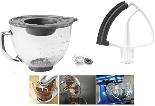KitchenAid 5Quart Glass Bowl amp; Flex Edge Beater Fits 4.5 Quart and 5