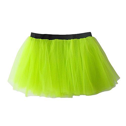 Women Adult Organza Dancewear Rave Party Tutu Skirt Ballet Pettiskirt (Neon Green)