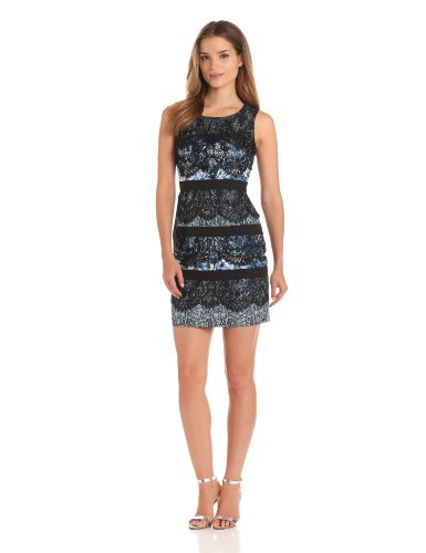 BCBGMAXAZRIA Women's Makenna Sleeveless Lace and Print Dress