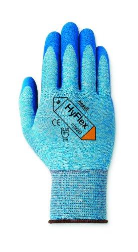 Ansell HyFlex 11-920-Guanti in Nylon, rivestimento in nitrile, colore: blu, Poignés lavorati (Confezione da 12 paia), 8, 12