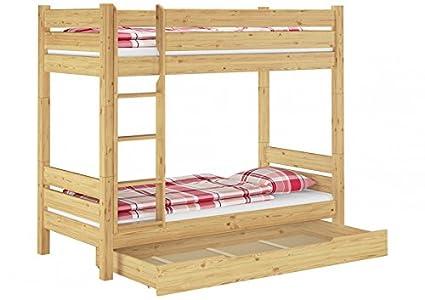 Massivholz-Etagenbett 90x200 Stockbett Kiefer teilbar 2 Rollroste Bettkasten 60.16-09 T100 S1