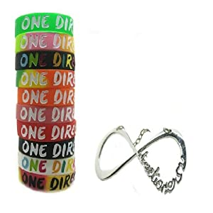One Direction 10pcs Bracelet Wristband with 1 Pcs Infinity Directioner Necklace from Molie
